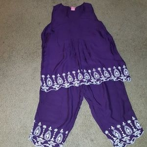 Woman Within purple capri outfit size large